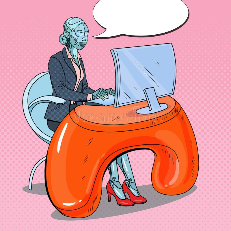 Pop Art Futuristic Robotic Woman Working with Computer. Artificial Intelligence Technology. Robot Office Worker stock illustration