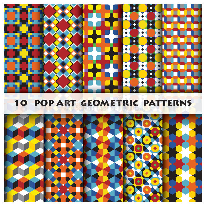 Pop Art Geometric Background Pattern Style stock illustrationer