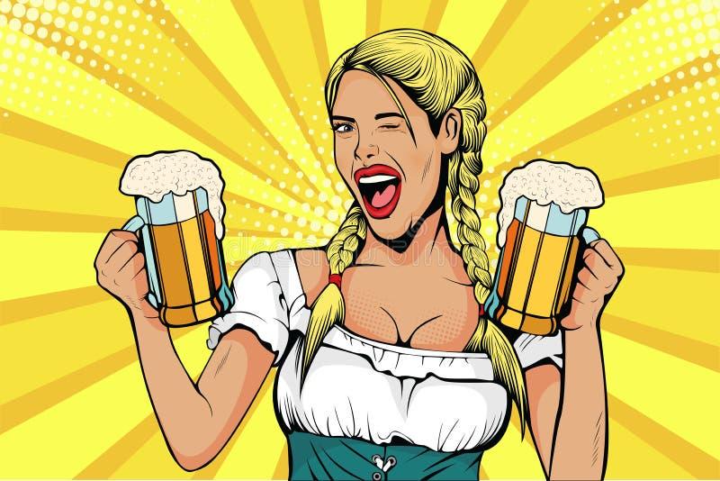 Pop art Germany Girl waitress carries beer glasses. Oktoberfest celebration. vector illustration