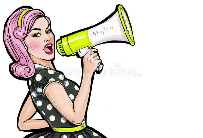 Pop art girl with megaphone. Woman with loudspeaker. Girl announcing discount or sale. Shopping time. Protest, meeting, feminism, woman rights, woman protest