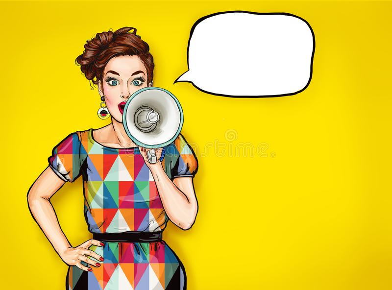 Pop art girl with megaphone. Woman with loudspeaker. Girl announcing discount. Shopping time royalty free illustration