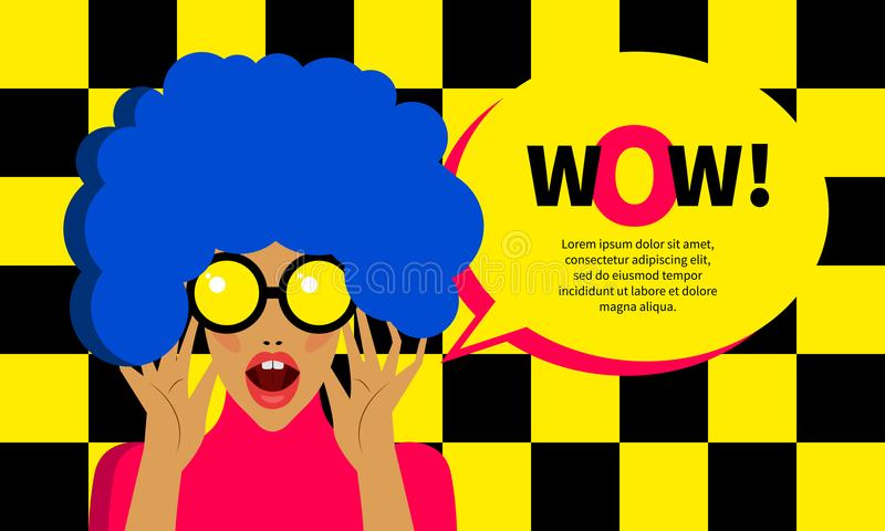 Pop art girl. Surprised. Woman with bright makeup opened her mouth. Retro banner with bubble, advertising discount, sale, promo. Vector illustration royalty free illustration