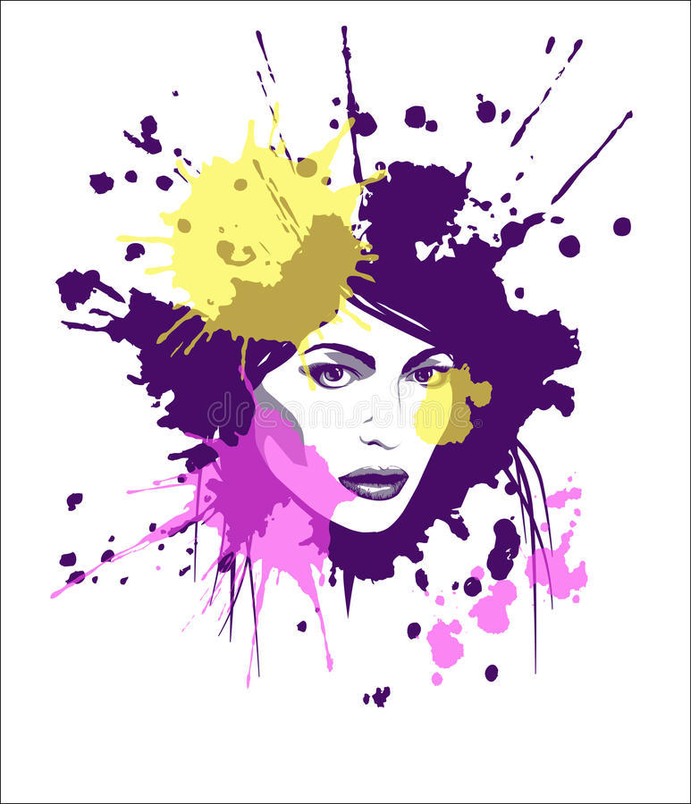 Pop-art girl. Portrait of girl in the pop art style with color blotches on the white background as a template of T-shirt print. Vector illustration royalty free illustration