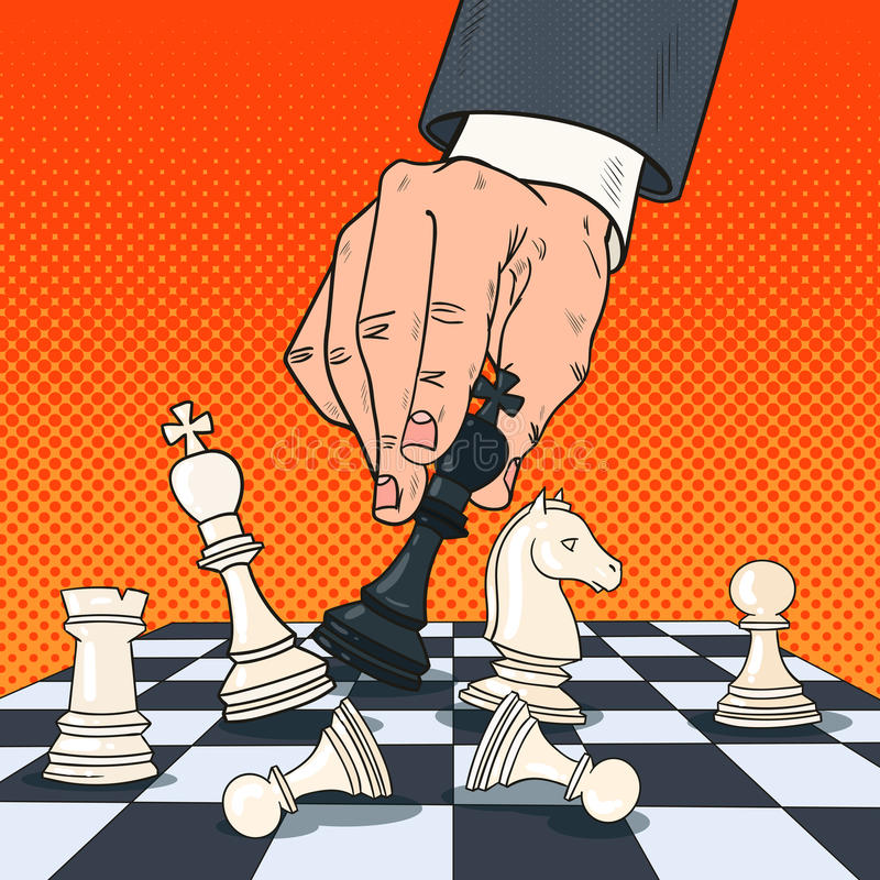 Pop Art Hand of Businessman Holding Chess Figure. Business Strategy Concept. Vector illustration stock illustration