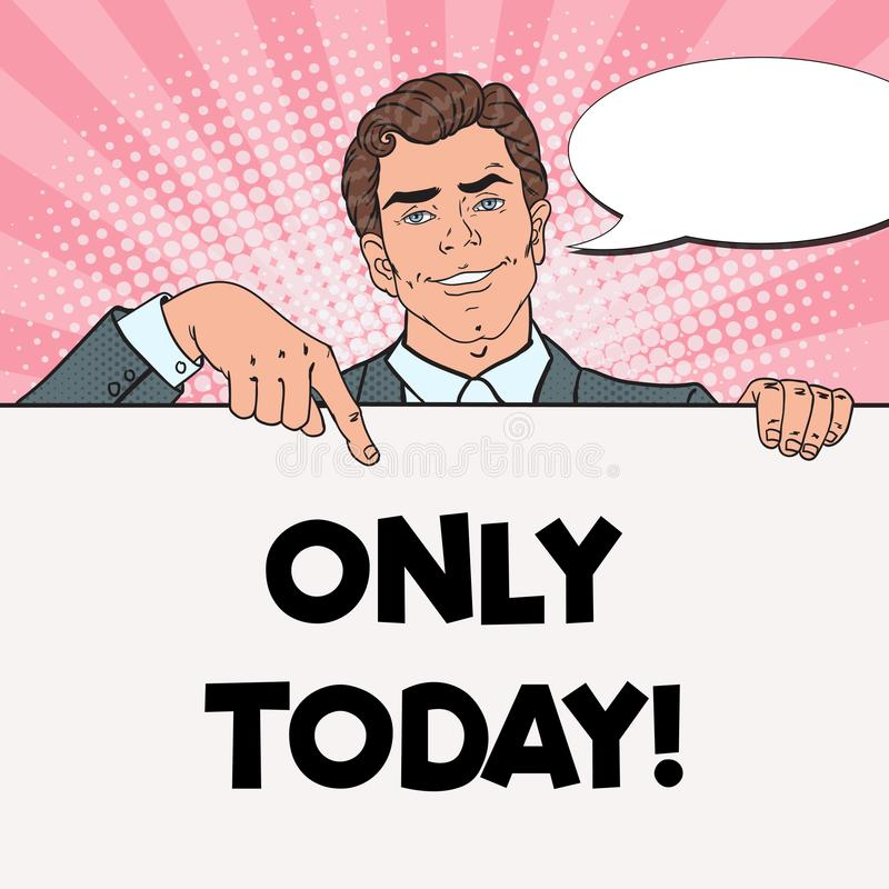 Pop Art Handsome Businessman Pointing on Blank Poster. Template for your Advertisement. Man Holding Empty Banner vector illustration