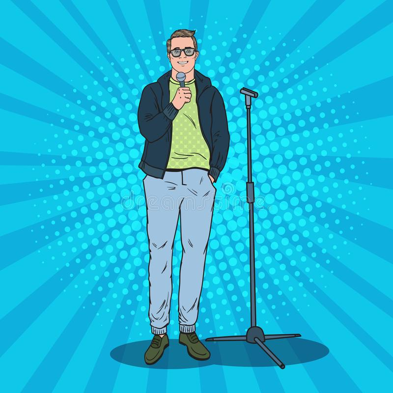 Pop Art Handsome Man with Microphone. Male Singer. Stand Up Show Performer vector illustration