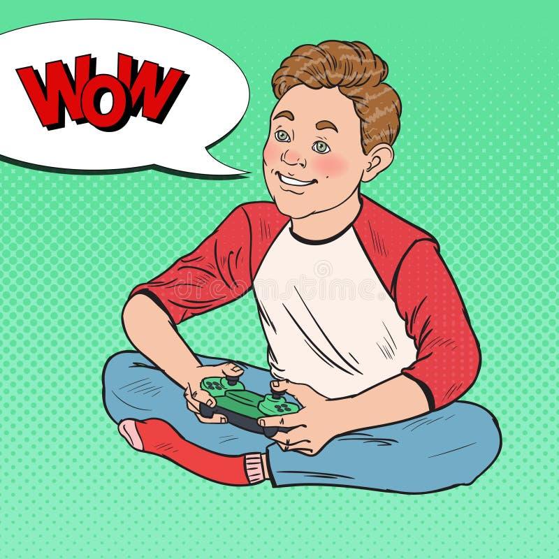 Pop Art Happy Boy Playing Video-Spel Jong geitje met Controleconsole royalty-vrije illustratie
