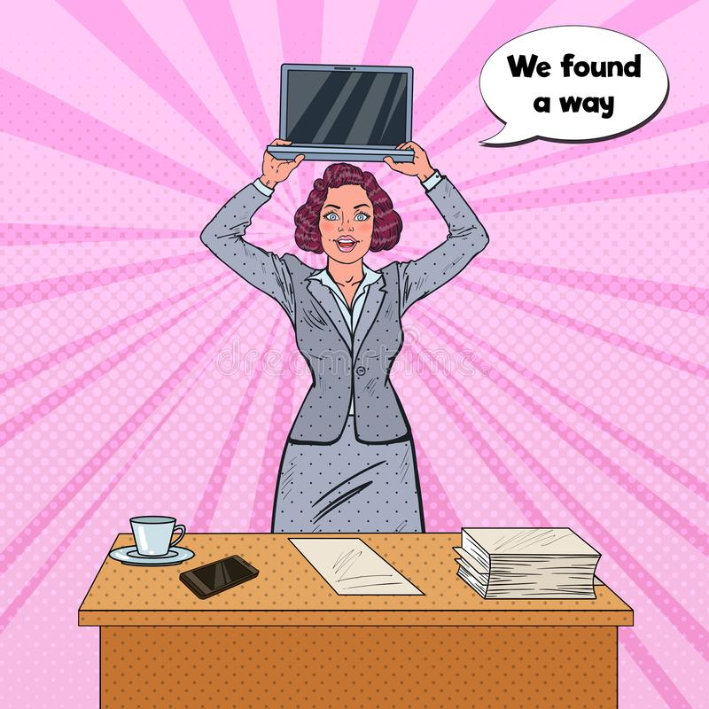 Pop Art Happy Business Woman Holding Laptop in front of the Table. With Stack of Papers. Secretary with Computer. Vector illustration stock illustration
