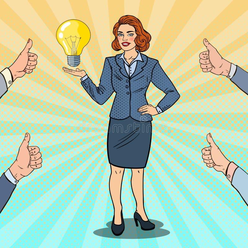 Pop Art Happy Business Woman met Creatief Idee royalty-vrije illustratie