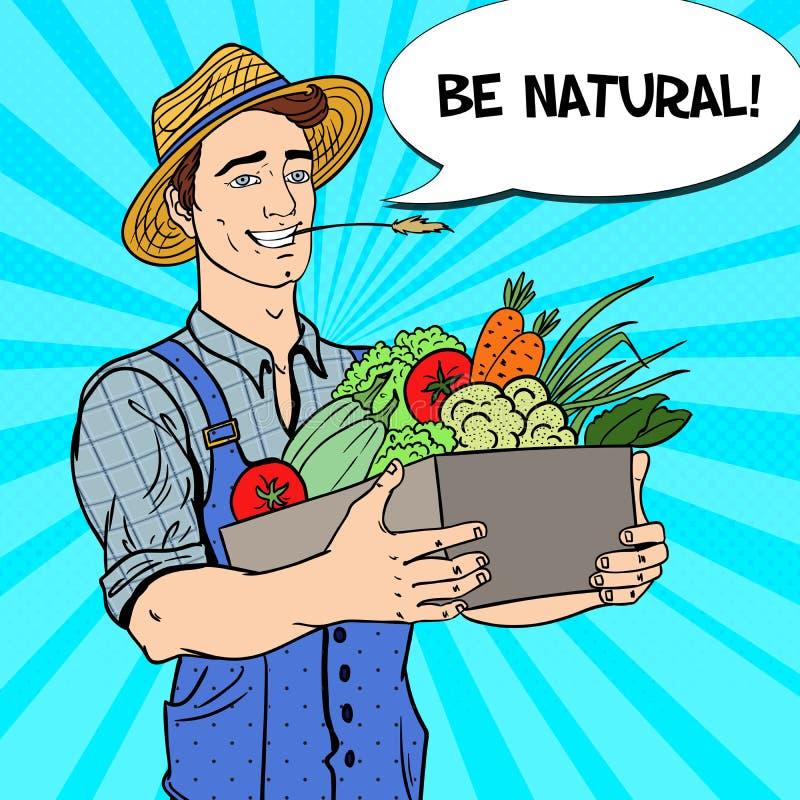 Pop Art Happy Farmer Holding Basket med nya grönsaker vektor illustrationer