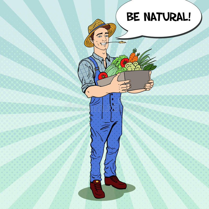 Pop Art Happy Farmer Holding Basket med nya grönsaker royaltyfri illustrationer