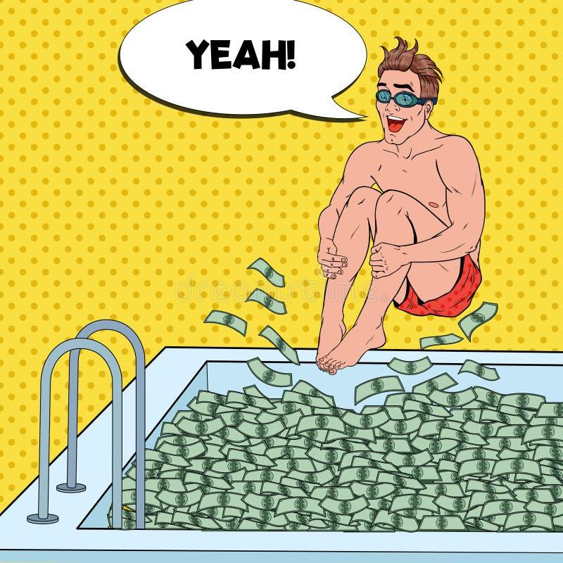 Pop Art Happy Man Jumping till pölen av pengar lyckad affärsman Finansiell framgång, rikedombegrepp royaltyfri illustrationer