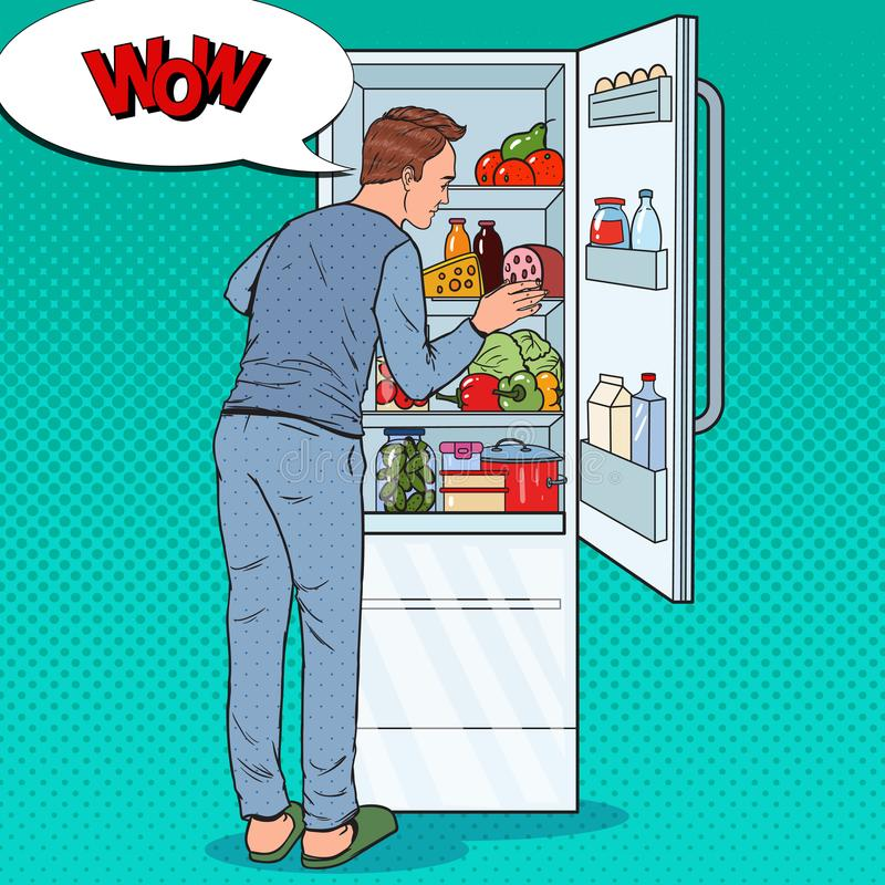 Pop Art Happy Man Looking Inside Fridge Full of Food. Guy with Refrigerator with Dairy Products stock illustration