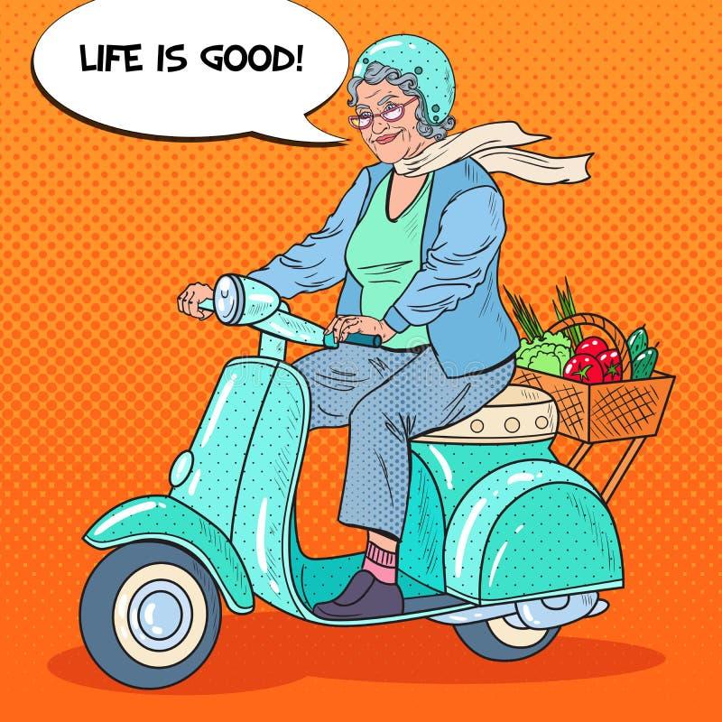 Pop Art Happy Senior Woman Riding Scooter with Basket of Vegetables. Lady Biker. Vector illustration stock illustration