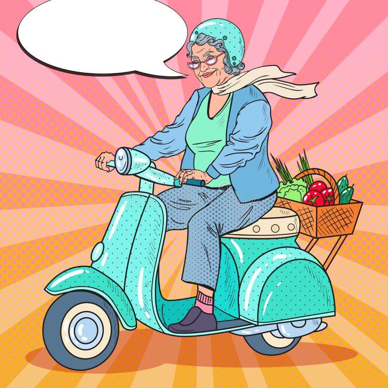 Pop Art Happy Senior Woman Riding Scooter. Lady Biker. Vector illustration stock illustration