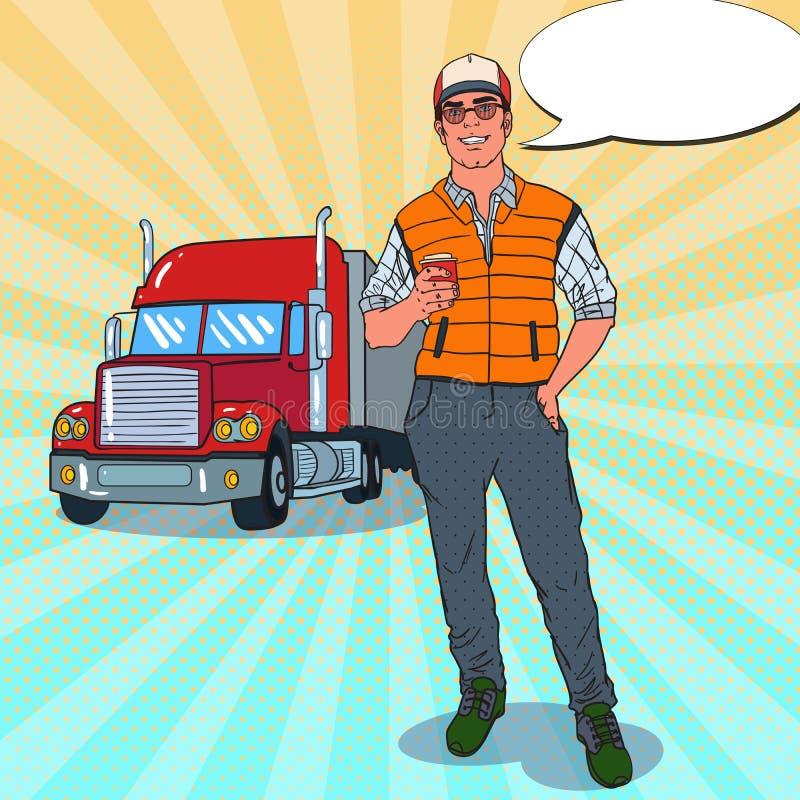 Pop Art Happy Trucker Standing framme av en lastbil Yrkesmässig chaufför stock illustrationer
