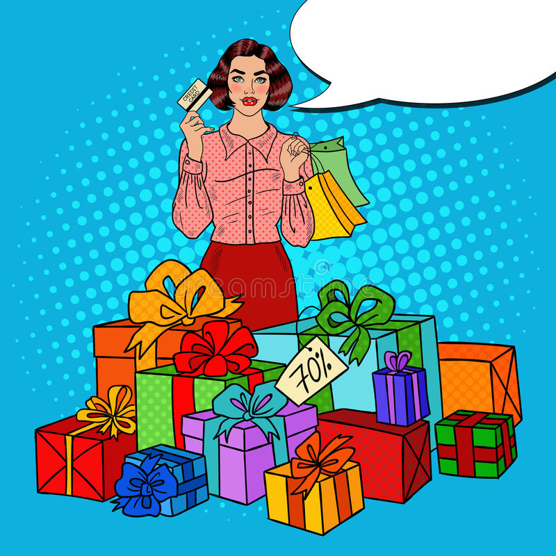 Pop Art Happy Woman with Shopping Bags, Huge Gift Boxes and Comic Speech Bubble Sale vector illustration