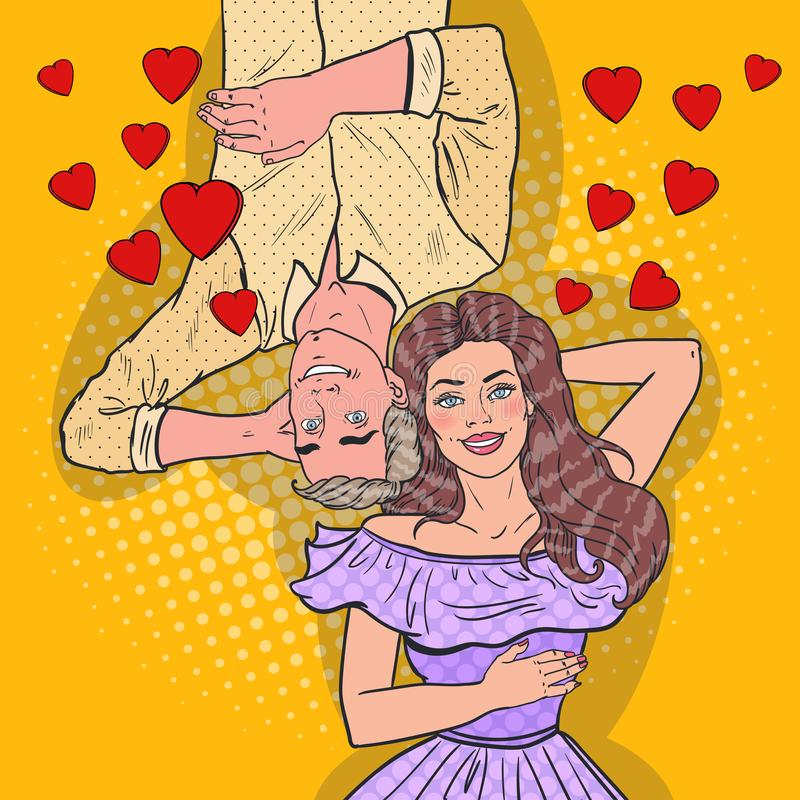 Pop Art Happy Young Couple in Love Laying Down. Romantic Relationships vector illustration