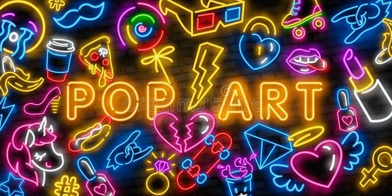 Pop art icons set. Pop art neon sign. Bright signboard, light banner. Neon isolated icon, emblem. Heart, diamond, pizza vector illustration