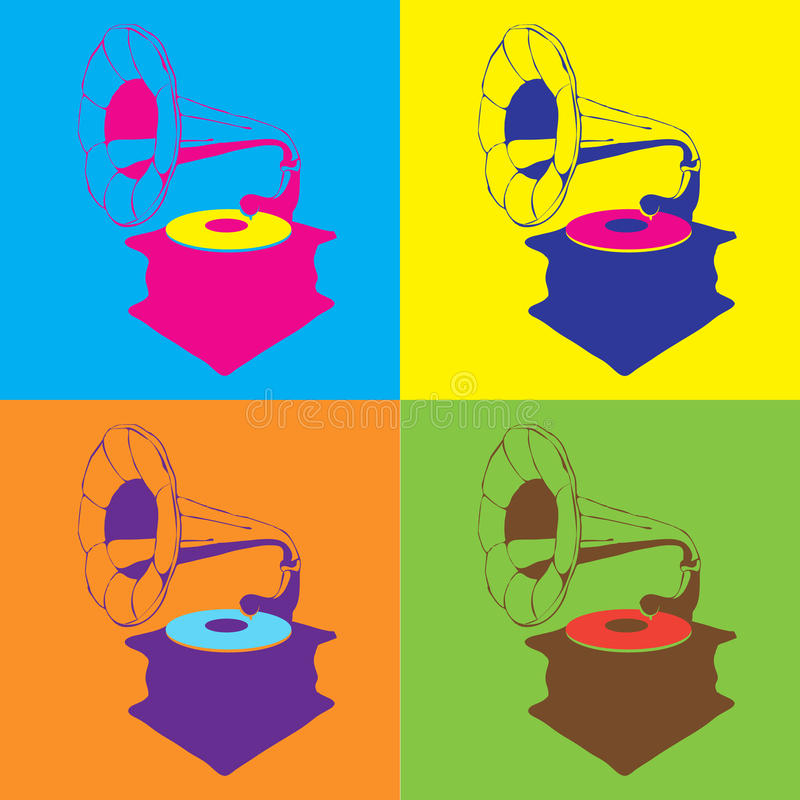 Pop art illustration with abstract music gramophone. royalty free illustration