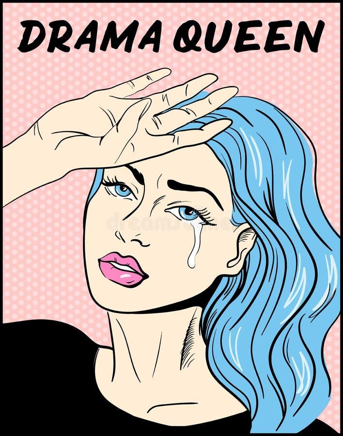 Pop art illustration Drama queen t-shirt print. Portrait of crying girl royalty free illustration