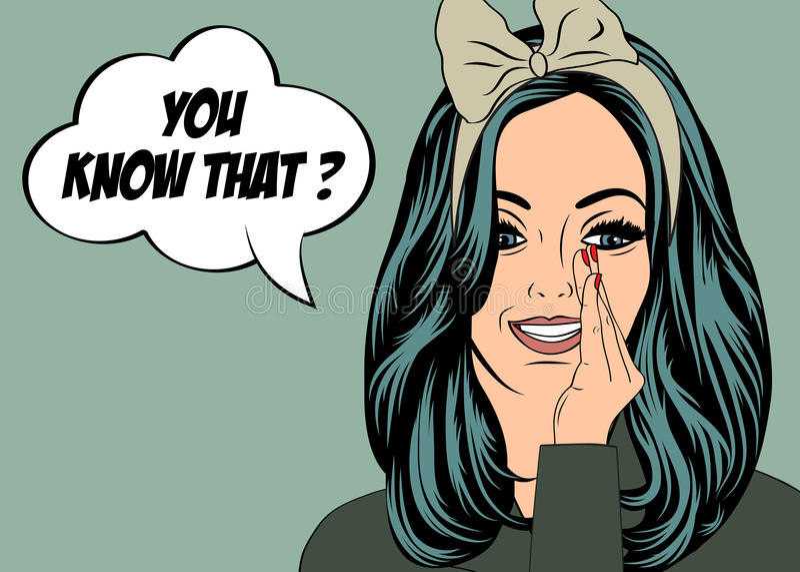 Pop Art illustration of girl with the speech bubble stock illustration