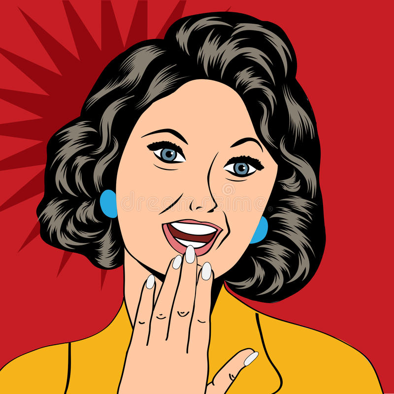 Pop Art illustration of a laughing woman vector illustration