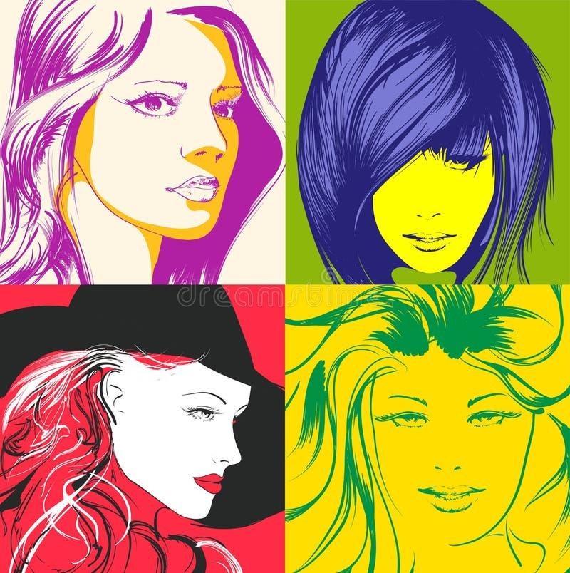 Pop art illustration. Fashion girls in the pop art style. stock illustration