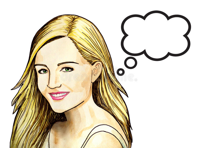 Pop Art illustration of woman with the speech bubble. Beautiful smile. White background. royalty free illustration