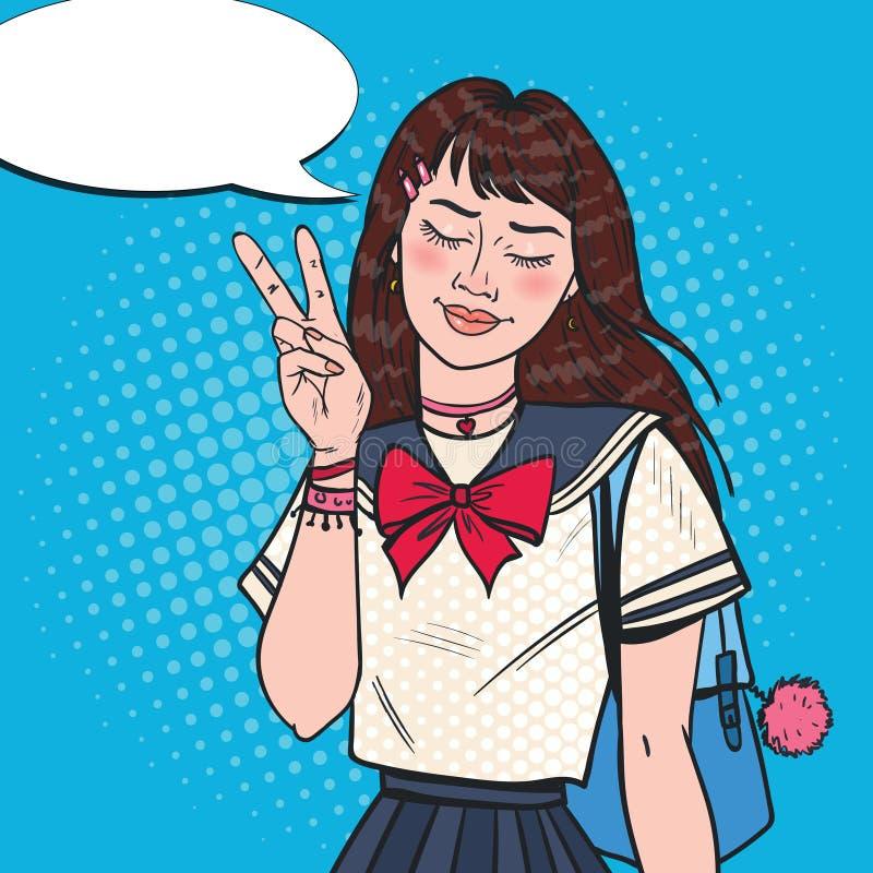 Pop Art Japanese School Girl i likformig Asiatisk tonårs- student med ryggsäcken stock illustrationer