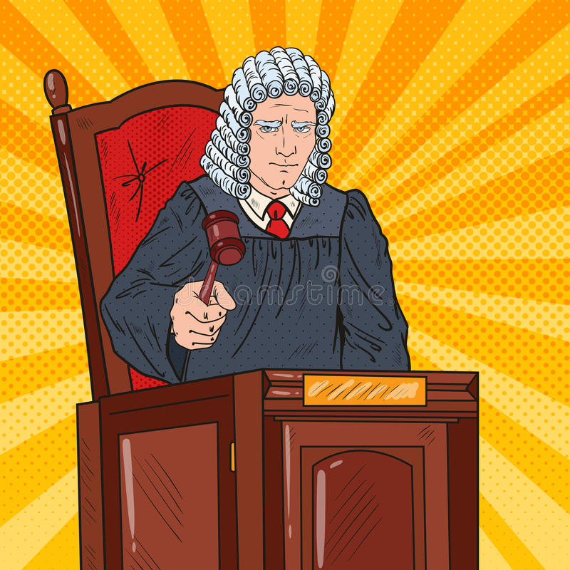 Pop Art Judge in Courtroom Striking the Gavel. Pop Art Senior Judge in Courtroom Striking the Gavel. Law and Justice. Vector illustration royalty free illustration