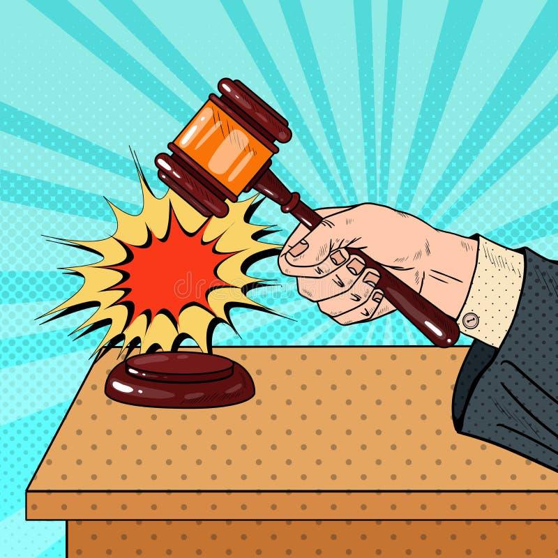 Pop Art Judge Hitting Wooden Gavel in a Courtroom. Vector illustration royalty free illustration