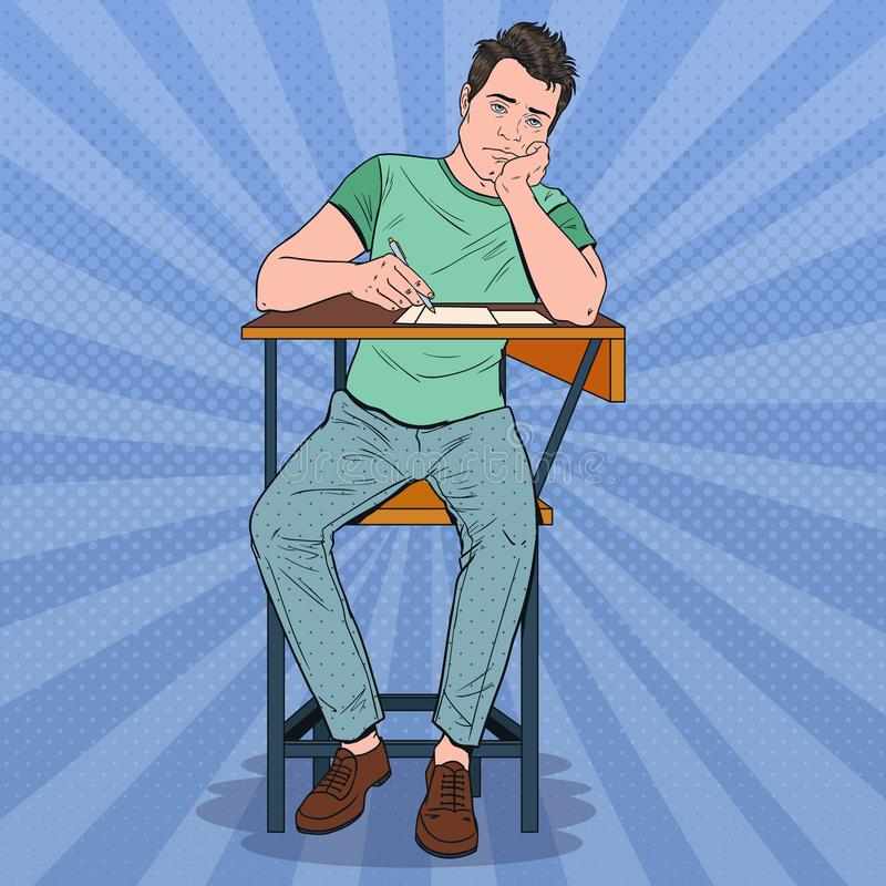 Pop Art Lazy Student Sitting on the Desk During Boring University Lecture. Tired Handsome Man in College. Education. Concept. Vector illustration vector illustration