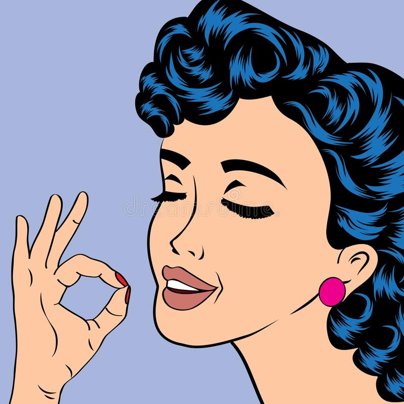 Pop-art leuke retro vrouw in strippaginastijl royalty-vrije illustratie