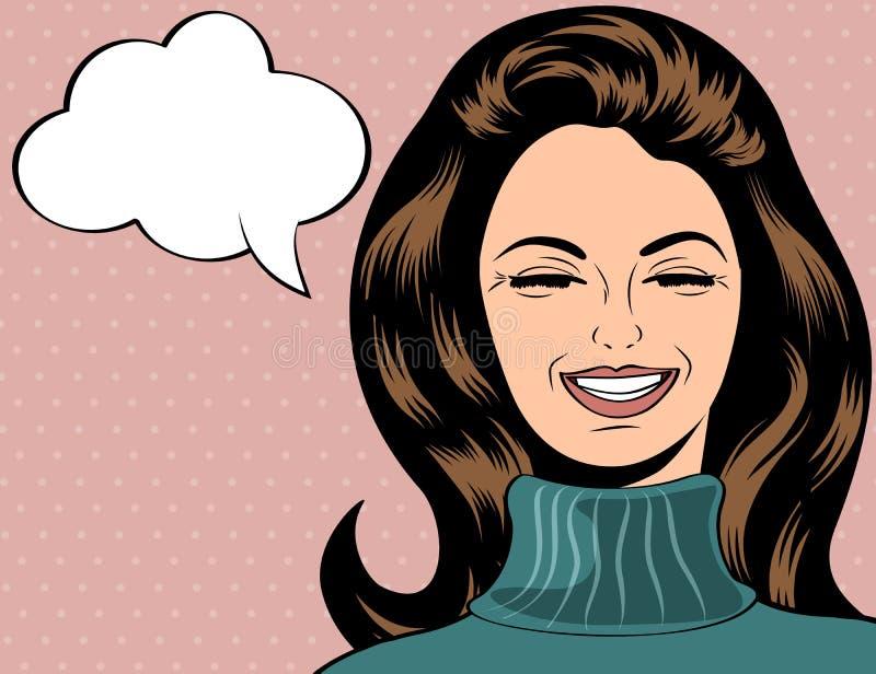 Pop-art leuke retro vrouw in strippaginastijl het lachen vector illustratie