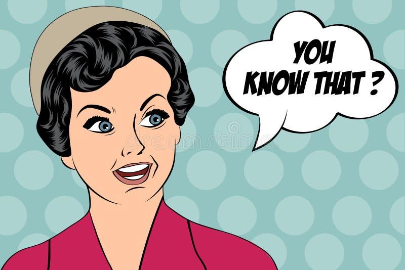 Pop-art leuke retro vrouw in strippaginastijl met bericht vector illustratie