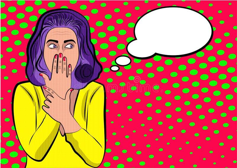 Pop-art leuke vrouw met het behandelen van haar mond vector illustratie