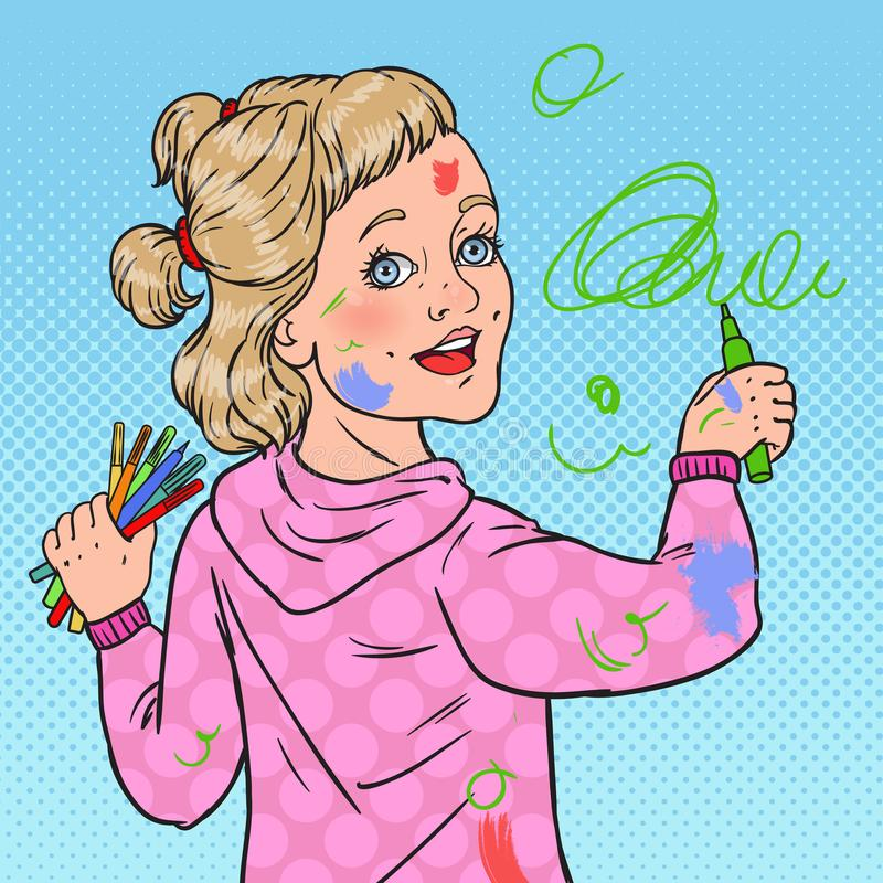 Pop Art Little Painter Painting on the Wall. Girl Drawing with Crayons on Wallpaper. Happy Childhood vector illustration