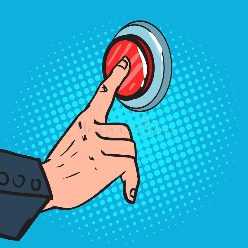 Pop Art Male Hand Pressing a Big Red Button. Emergency Call. Vector illustration
