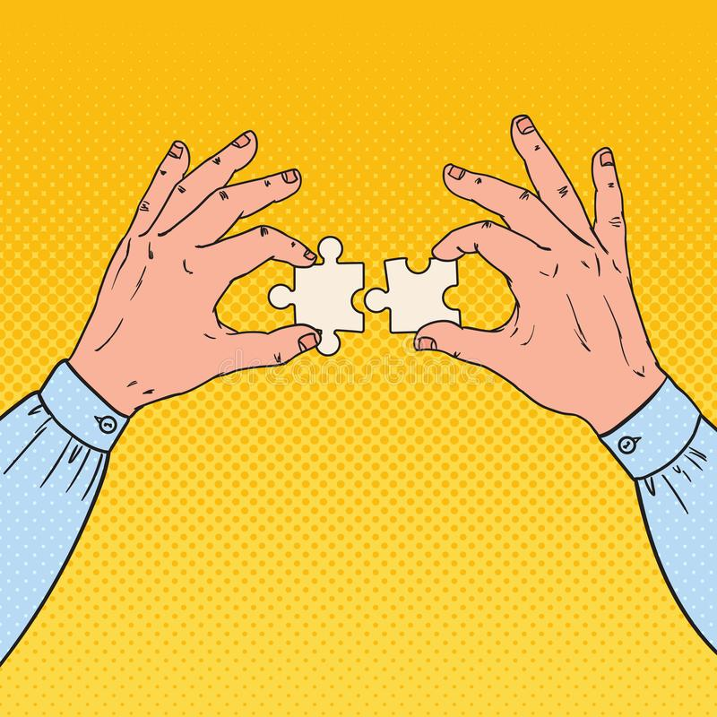 Pop Art Male Hands Holding Two Puzzle Pieces. Business Solution Concept vector illustration