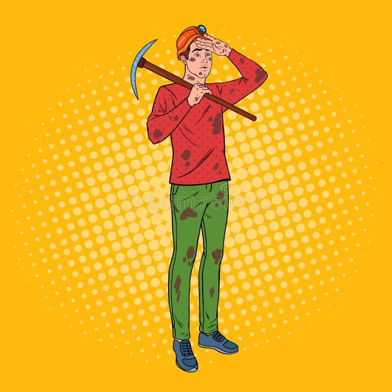 Pop Art Male Miner in Helm met Pikhouweel Kolenindustriearbeider stock illustratie