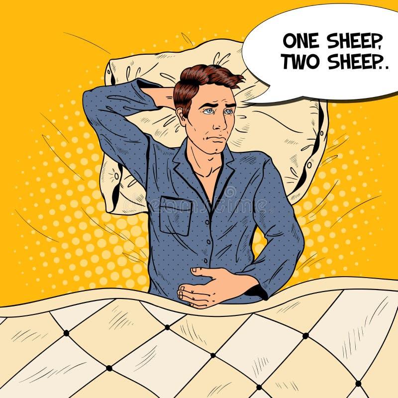 Pop Art Man in Bed die aan Slapeloosheid en Slapeloosheid lijden royalty-vrije illustratie
