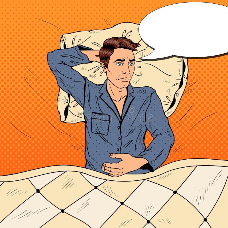Pop Art Man in Bed die aan Slapeloosheid en Slapeloosheid lijden stock illustratie