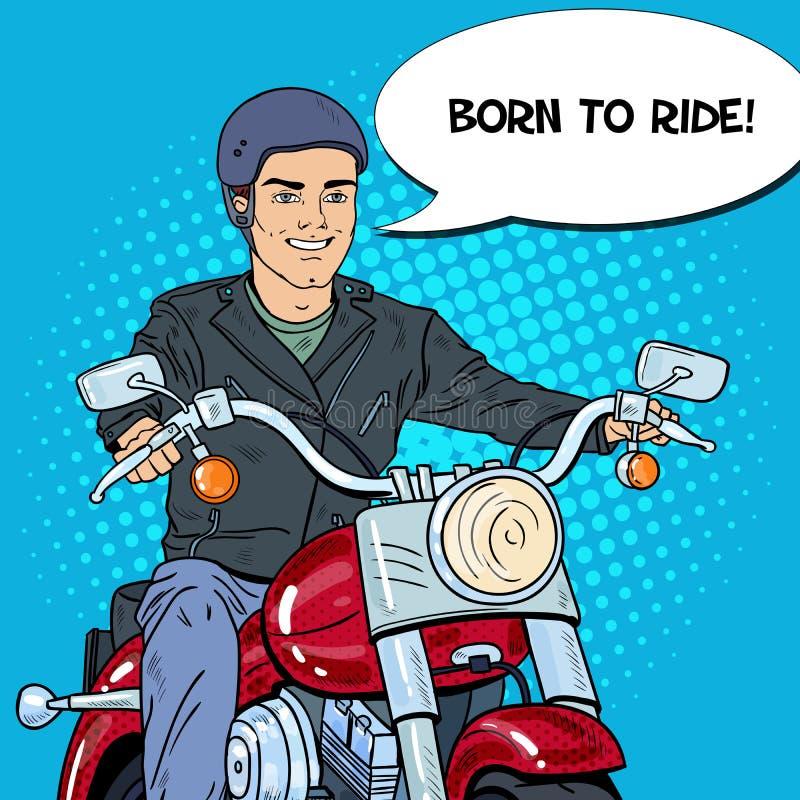 Pop Art Man Biker Riding en avbrytare royaltyfri illustrationer