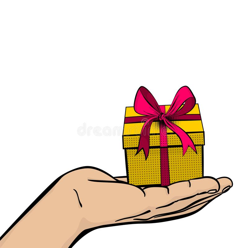 Pop art man hand hold gift box ribbon royalty free illustration