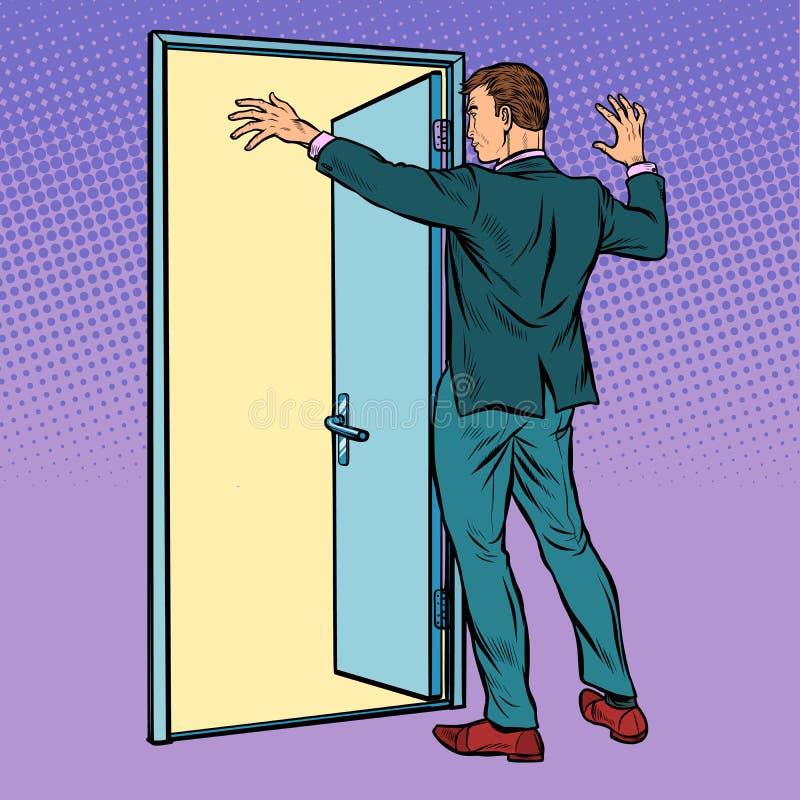 Pop art man opens the door, greeting stock illustration