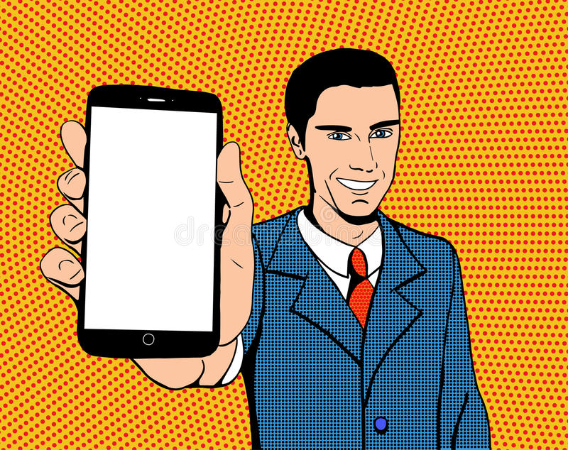 Pop art man with a phone vector illustration
