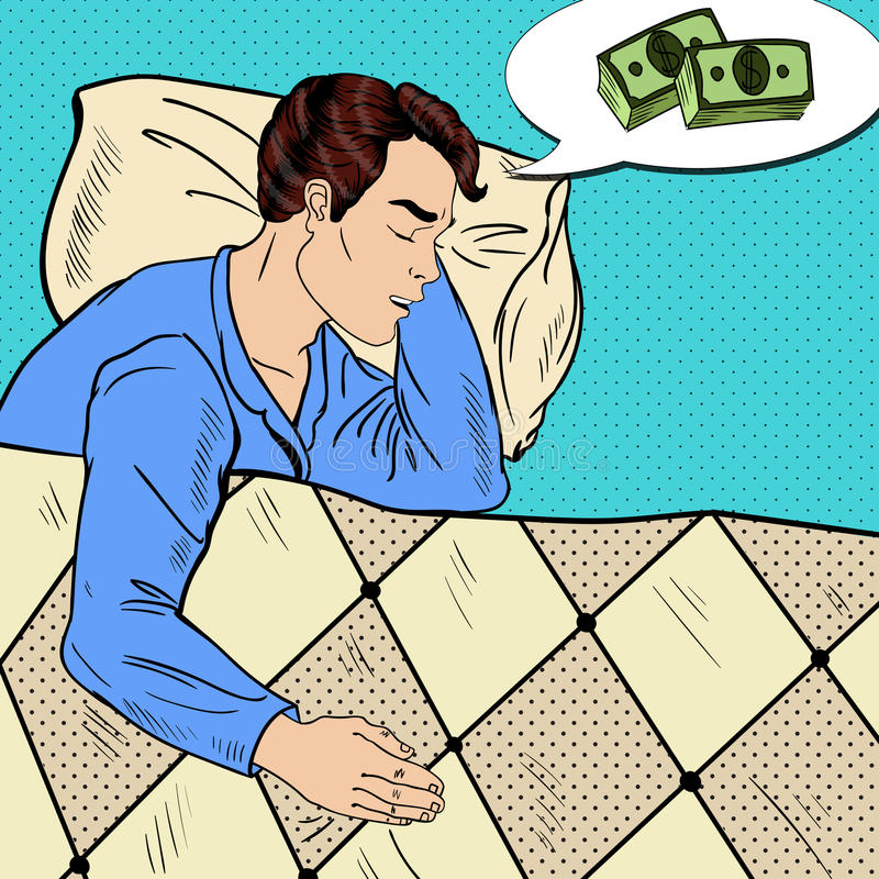 Pop Art Man Sleeping in Bed and Dreaming about Money stock illustration