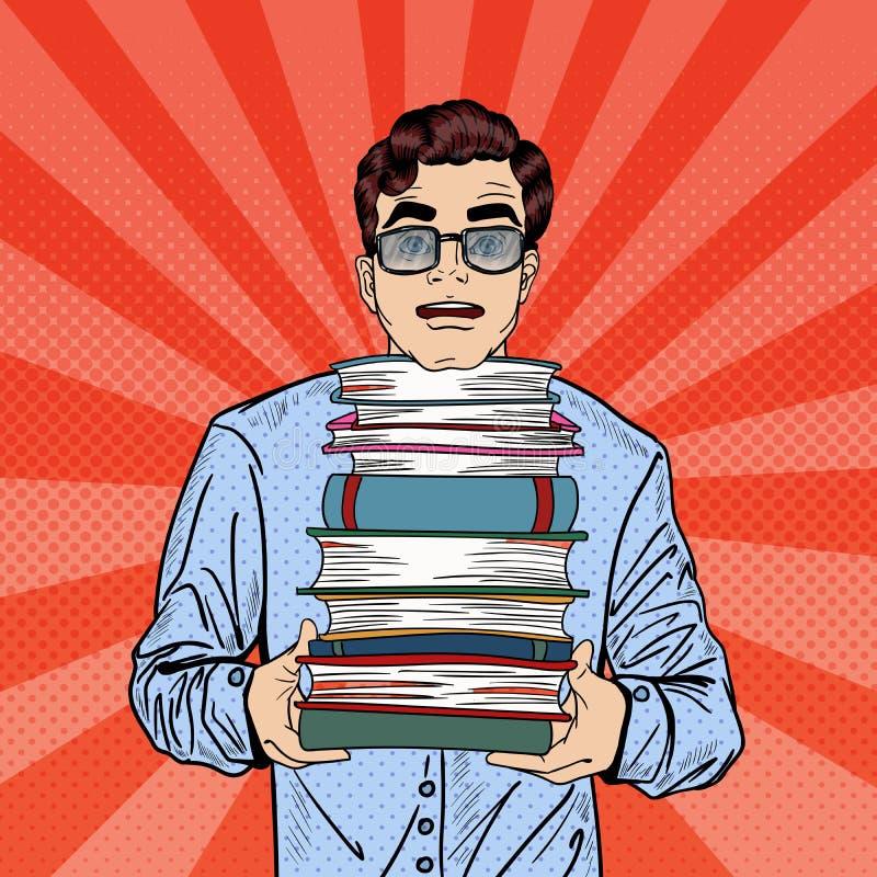 Pop Art Man Student Holding Stack van Boeken royalty-vrije illustratie