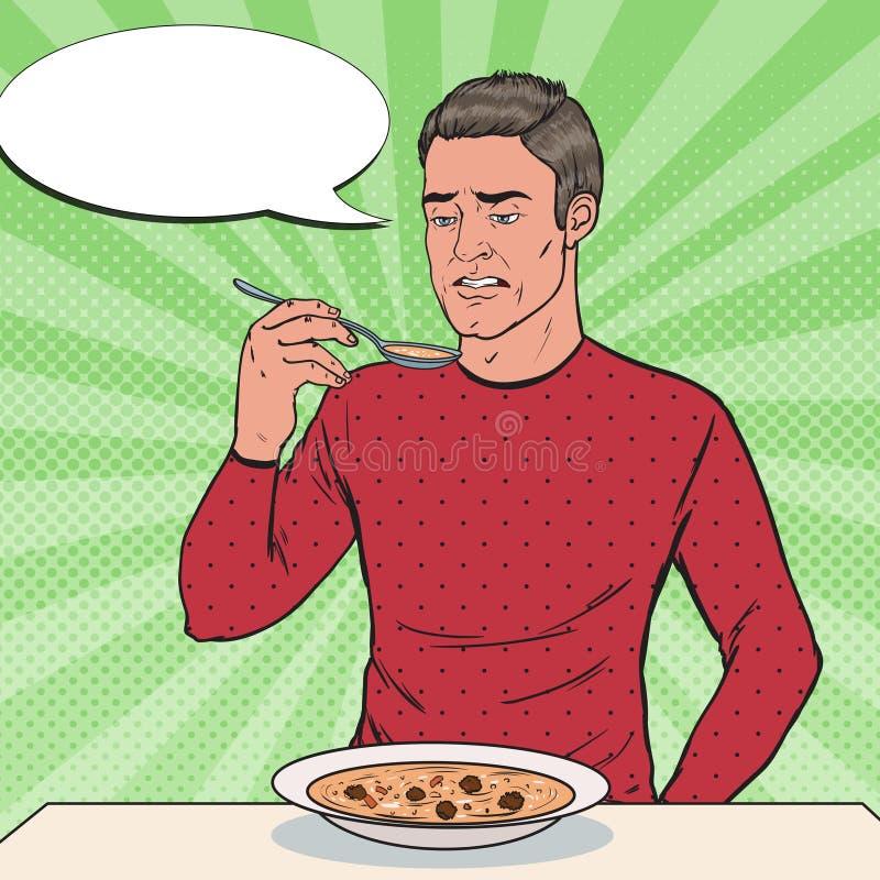 Pop Art Man Tasting Soup med den äckliga framsidan Stillös mat stock illustrationer